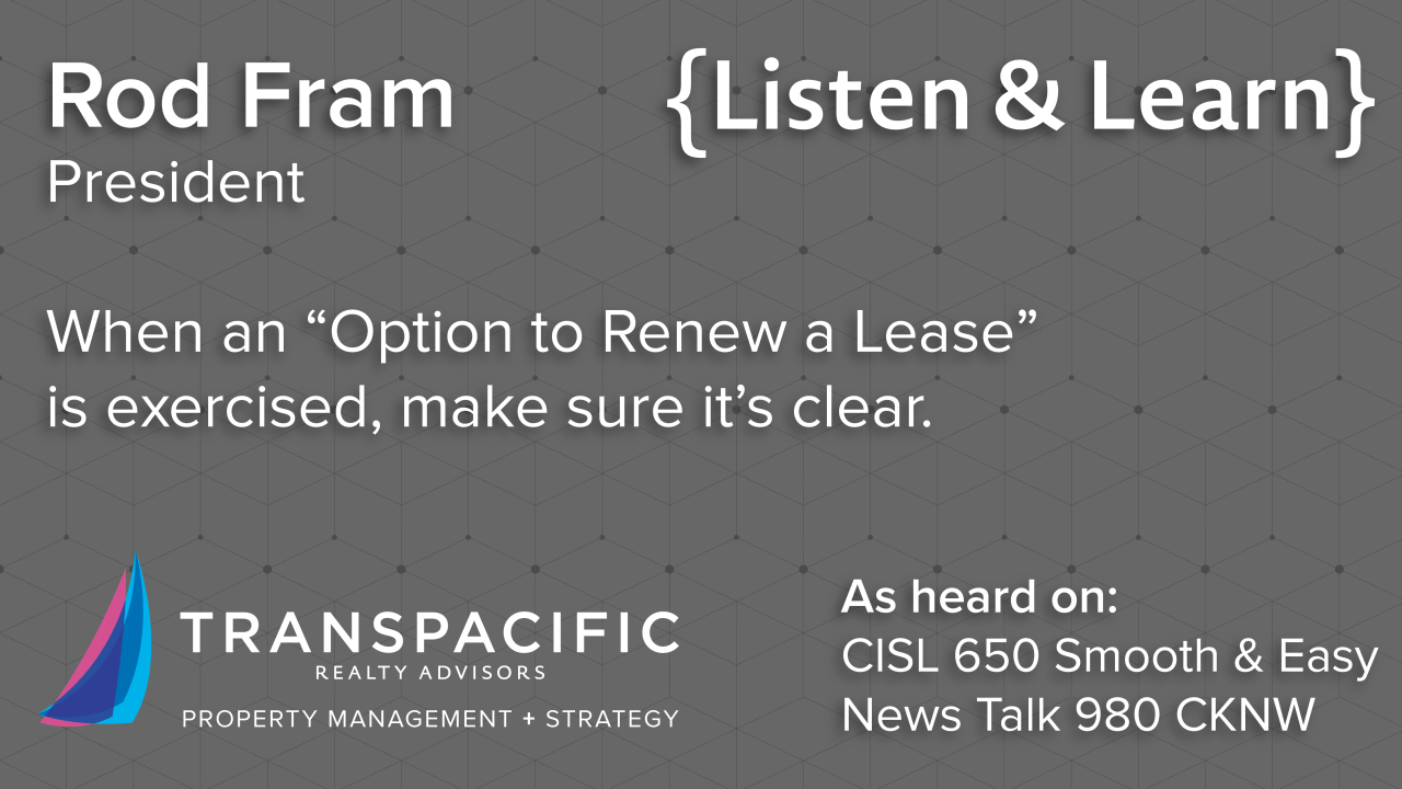 exercising options to renew a lease learning centre transpacific